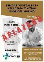"""Curso para elaborara bebidas vegetales: """"Bebidas vegetales en heladerías y otros usos del molino"""" impartido por Santi Gomez en Alicante."""